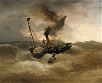 a steamship in rough seas by andreas achenbach