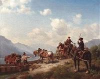 verladung einiger pferde auf ein fährboot auf einem alpensee by karl lieske