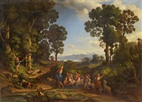 italian landscape with shepherdess, children and goats by heinrich gärtner