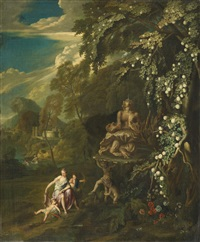 classical landscape with mythological figures by george lambert
