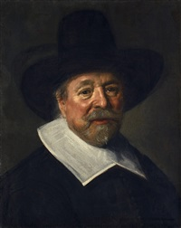 bildnis eines mannes mit hut (reverend john livingston?) by frans hals the elder