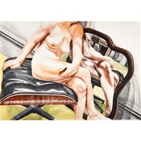 nude on eames stool (with mirror) by philip pearlstein