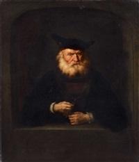 bärtiger mann mit barett, eine medaille vorweisend by salomon koninck