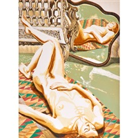 nude on navajo rug,, nude with iron bench and mirror, 1978, model in kimono on plastic chair, 2001 (3 works) by philip pearlstein