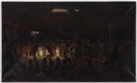 cérémonie rituelle, tribue d'amérindiens by jules tavernier
