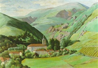 a view of a valley with a village and church in the foreground by lucien aubert