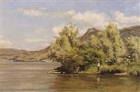 sommerliche seelandschaft mit angler by jules gaud