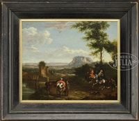 falconry with figures; horses in landscape (2 works) by philips wouwerman