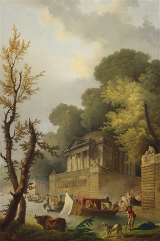 capriccio with ancient temple by a canal by hubert robert
