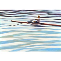 scull and rower on the water by gordon haas