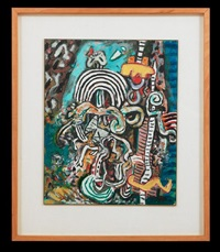 homage to homo australis no 2 and study for elizabethan spirit no 1 (2 works) by alan davie