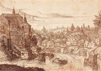 townscape with a river by hans sebald lautensack