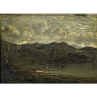 a canoe and figure in a mountain landscape by alfred jacob miller