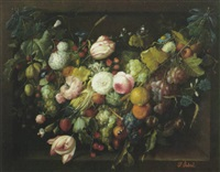 a still life with a festoon of flowers, grapes. oranges and berries in a niche by francois gabriel