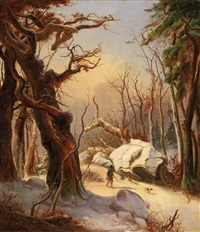 winterlandschaft mit jäger by karl friedrich lessing