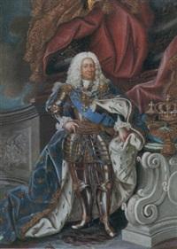 porträtt av konung fredrik i klädd i rustning, serafimerordens blå band samt blå hermelinmantel med guldbroderade kronor by niclas lafrensen the elder