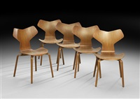 grand prix chairs (set of 5) by arne jacobsen