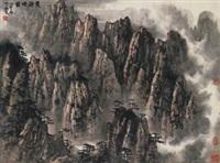 黄海烟霞 (landscape) by li xiaoke
