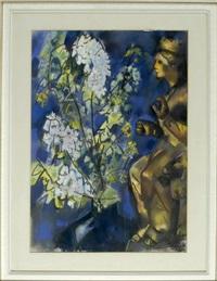 stilleben mit blumenvase und statue einer königin auf löwenthron by otto herbig