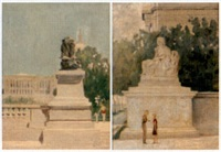 view from the grant memorial (+ statue by the national archives, washington d.c.; 2 works) by pierce rice