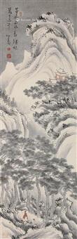 雪景山水 挂轴 设色纸本 by pu ru