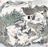 a thatched cottage with a bamboo fence by wu guanzhong