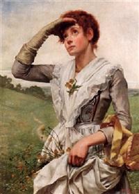 ung kvinna med blommor i förklädet by w. savage cooper