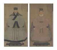 portraits of shen zhou and his wife (pair) by anonymous (15)