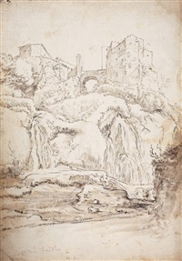 southern landscape with castle and bridge (+ landscape study, verso) by karel dujardin