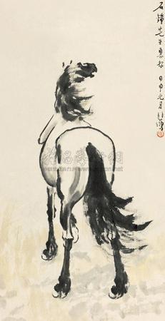 独立风中 horse by xu beihong