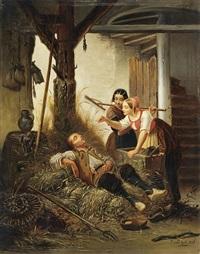 schlafender hirte und zwei junge mägde by jan david col