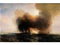 marinebild mit rauchendem raddampfer by baron jean antoine théodore gudin