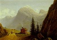 bjerglandskab med hytte og figurer by fritz hultmann