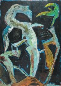 ohne titel (figuren vor blauem grund) by heinrich modersohn