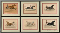 six small folio horse racing lithographs by currier & ives (publishers)