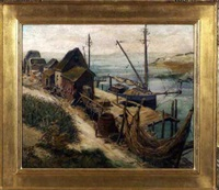 coastal scene with fishing shanties, dock and boats by frank hendry