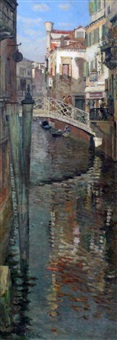 canal view 'ponte .... and casa grand, venice' by william graham