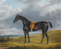 race horse in a landscape by george henry laporte