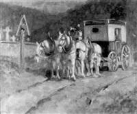 postillon mit seiner kutsche vor einer friedhofsmauer by richard herdtle