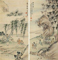 竹林七贤 (两件) (in 2 parts) by qian xiong