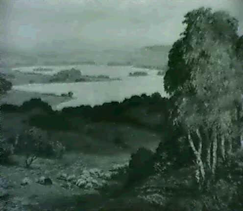 seenlandschaft im vorgebirge im vordergrund weidende schafe by theodor graetz