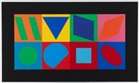 ohne titel (komposition mit 8 quadraten) by victor vasarely
