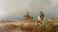 stäpplandskap med ryttare och vinthundar by rudolf frentz the elder