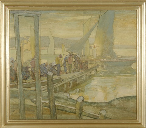 dock scene by richard edward miller
