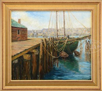 green schooner at dock by jane peterson
