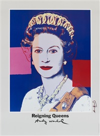 reigning queens: queen elisabeth ii, plakat art expo dänemark by andy warhol