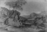 ländliche idylle in südlicher landschaft by august wilhelm julius ahlborn