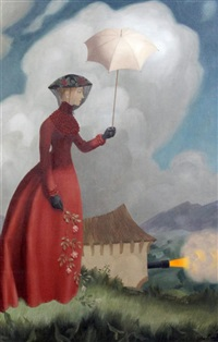 widow holding a parasol, a cannon beyond by john armstrong