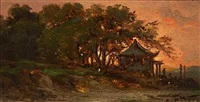 huse og træer i solnedgangen (fra shanghai?) by fritz siegfried george melbye