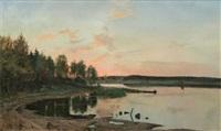 storsjön i södermanland med gåsinge kyrka by erik johan wilhelm abrahamson